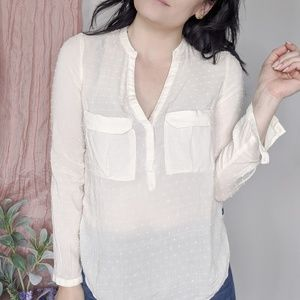 MAEVE Anthro dotted swiss cream popover blouse 656